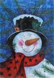 Snowman in the Pines Garden Flag by Evergreen, Colorfast and Durable, #4454