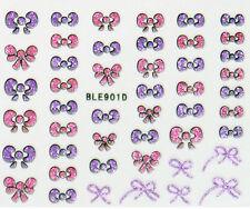 3D Nail Art Glitter Stickers Decals Pink & Purple Bows 901