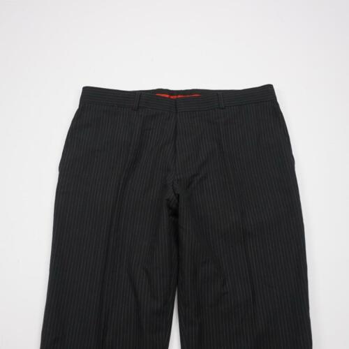 HUGO BOSS Flat Front Lined Wool Dress Pants Black