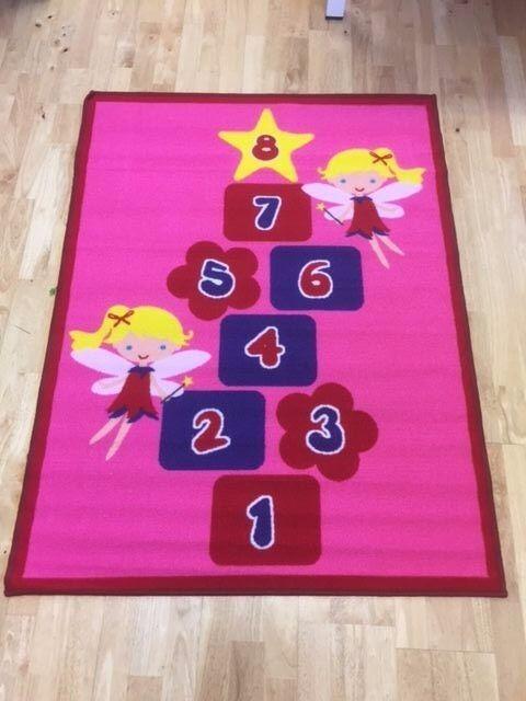 Superb Kids Childs Rug Princess Castle Hopscotch Pink Play Mat 80cm X 150cm 26 5 Rox The Good Company