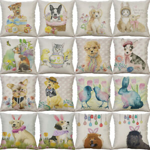 Easter-Dog-Cotton-Linen-Sofa-Waist-Home-Decor-pillow-case-Cushion-Cover