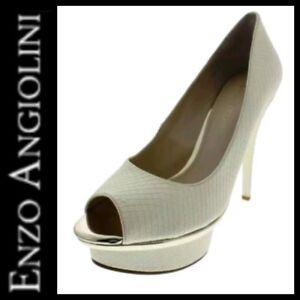ENZO-ANGIOLINI-Ivory-Snake-Embossed-Love-U-Too-Platform-Heels-Pumps-10-5M-M3020
