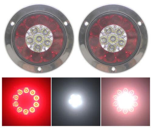 4x Round 16 LED Truck Trailer Lorry Brake Stop Turn Tail Light Chrome Ring 24V