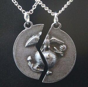 Pewter USMC Mizpah Prayer Necklace Set (Marine Corps Christmas Gift ...