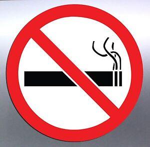 5x-No-Smoking-Vinyl-cut-Sticker-100mm-round-warning-regulation-smoke-outside-red