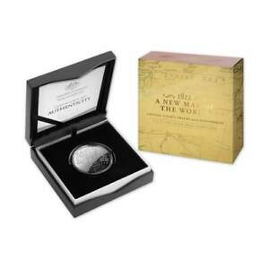2019-5-Cook-039-s-Tracks-1812-A-New-Map-Of-The-World-1oz-Silver-Proof-Domed-Coin