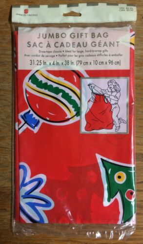 """Christmas Gift Bag OVER SIZED Bag 31/"""" x 38/""""  Trees Stars Ornaments Qty 1"""