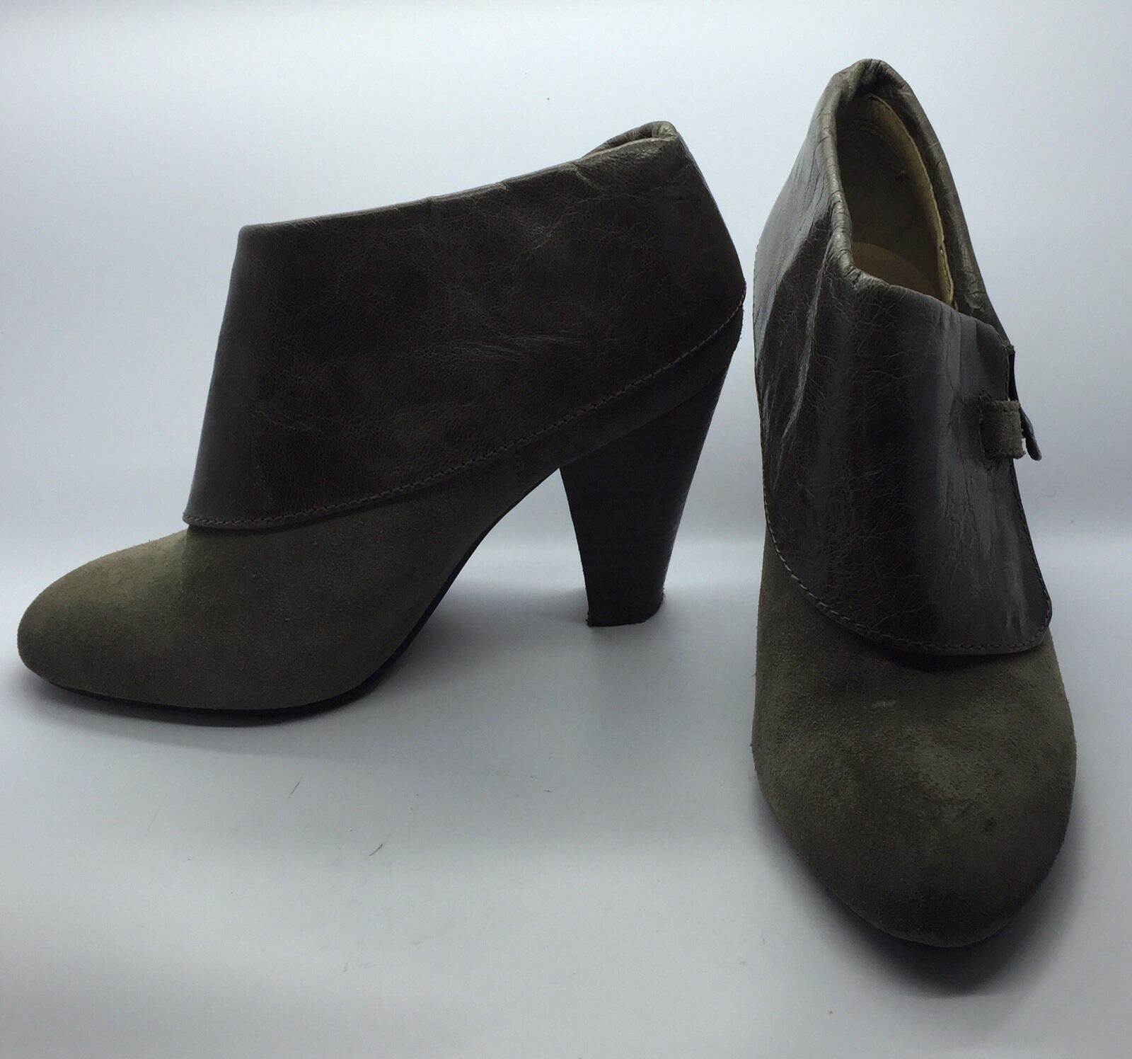 LEVITY Sage Green Green Green Suede Leder Schuhe Booties Wood Stacked High Heels Woman's 6M e25a2c