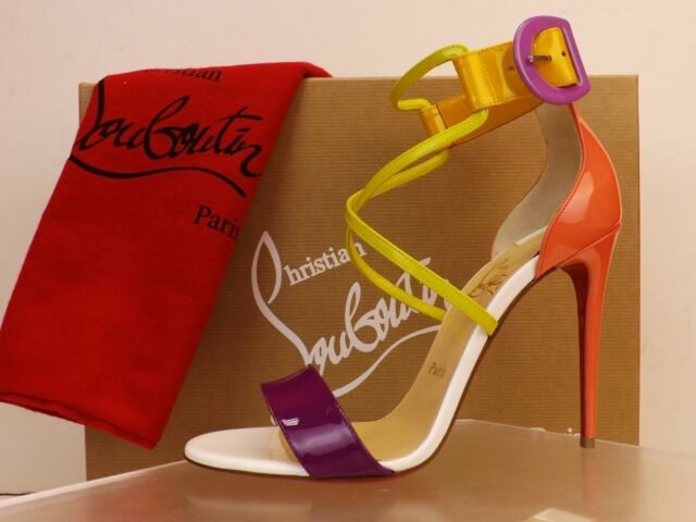 99dd28e21 NIB LOUBOUTIN CHOCA 100 MULTI COLOR PATENT LEATHER BUCKLE ANKLE STRAP PUMPS  40.5