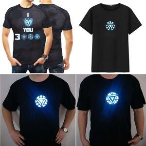 IRON-MAN-Tony-Stark-Light-Up-Shining-LED-Black-T-Shirt-Cool-Tee-Party-Cosplay-XX