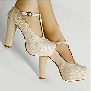 Princess-Lace-Strappy-Wedge-Buckle-Platform-Ladies-Party-Wedding-High-Heels