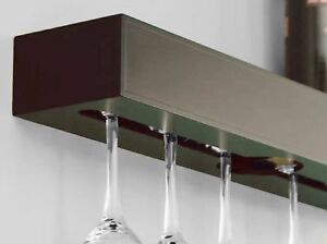 Details About Wine 6 Glass Rack Shelf Holder Wall Mounted Wood Wet Bar Espresso Finish Bottle