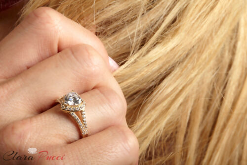 1.75ct Heart Cut Halo Solitaire Promise Anniversary Ring 14k Solid Yellow Gold
