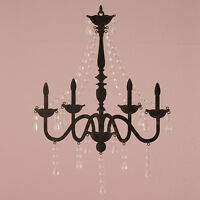 2 Faux Chandelier Silhouette Metal Wall Decor Acrylic Crystal Drops Wedding