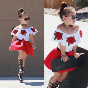41da1707653cc Toddler Kids Baby Girls Off Shoulder Top Mini Skirt Dress Outfits ...