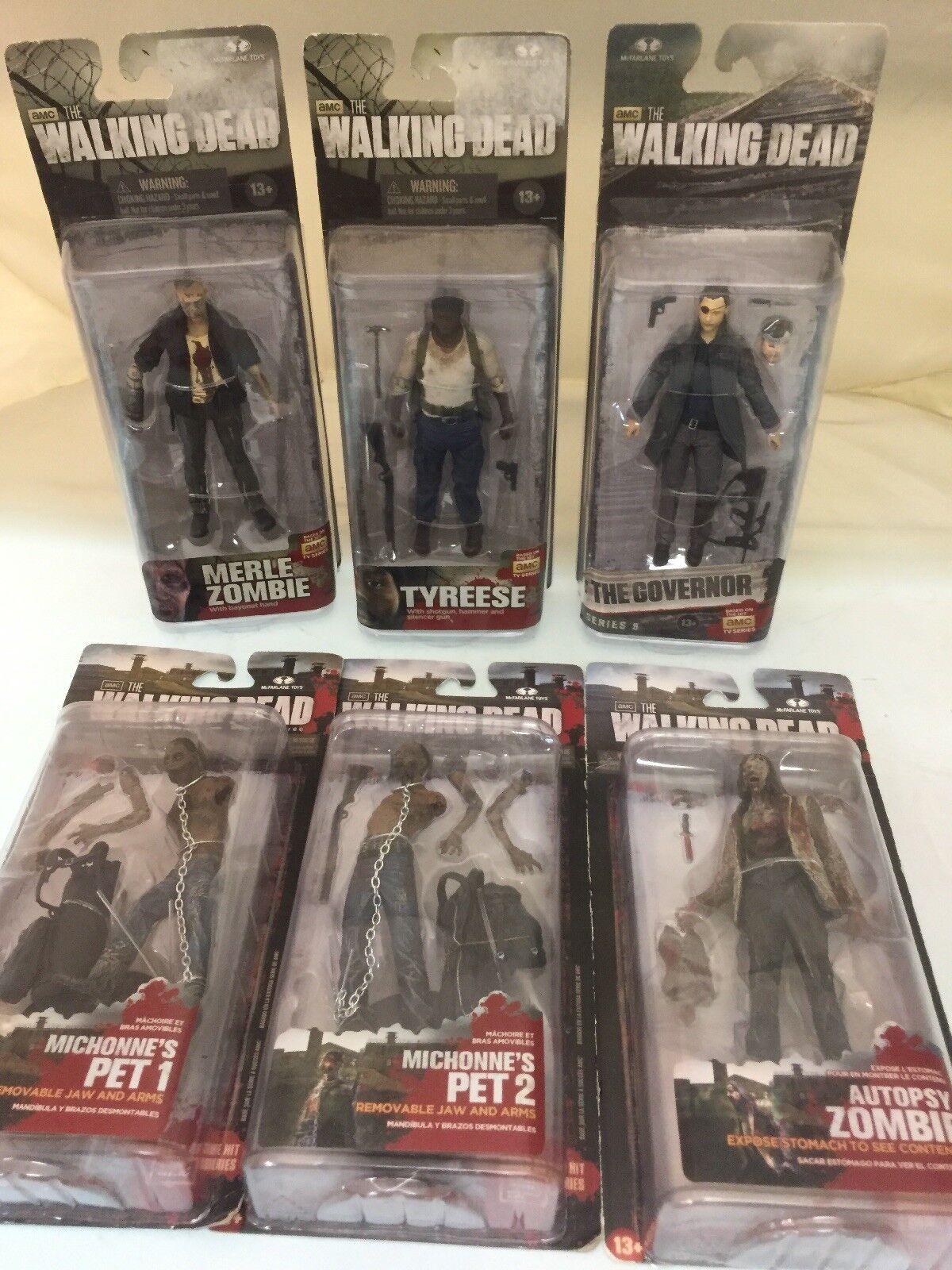The Walking Dead Dead Dead 6 Figures Michonne's Pet 1 & 2 Zombies Governor Tyreese d36a54
