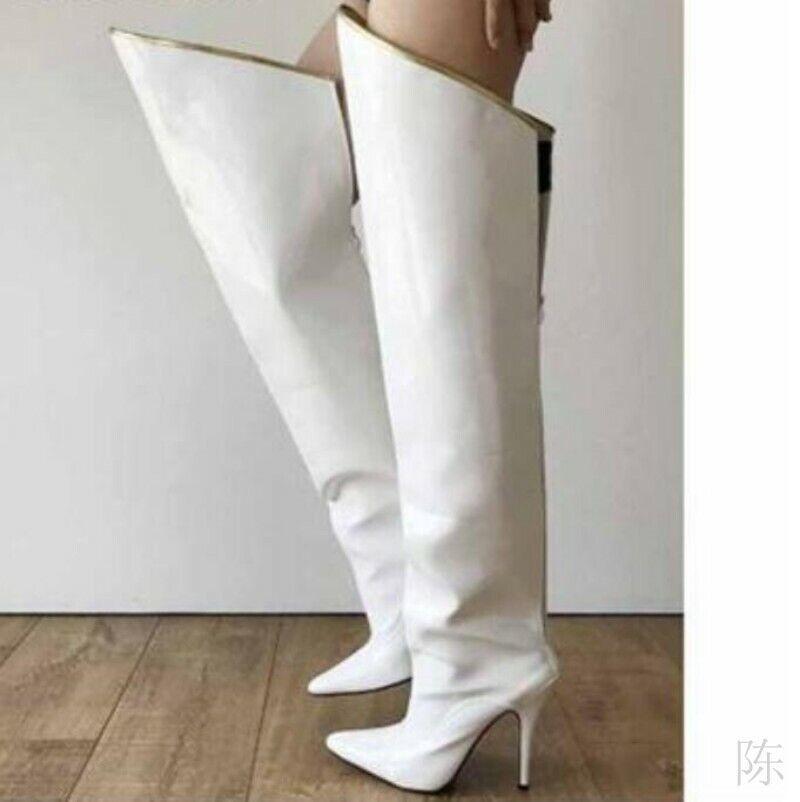 Mode Faux-Lackleder Damen Overknee Stiefel Stiletto Spitz Outdoor 35-44 Cosplay