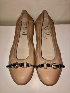 AGL PATENT NAVY CAP TOE TAN TEXTILE FLATS   Nice shoes