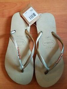 074561aa25f5 New Original Havaianas Slim Flip Flops Women Beach Sandals Beige 6 ...