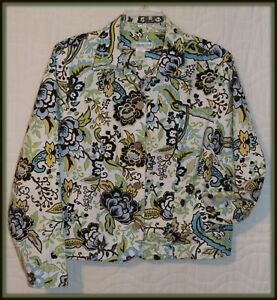 small-Womens-Coldwater-Creek-button-up-denim-jacket-paisley-print-work-wear