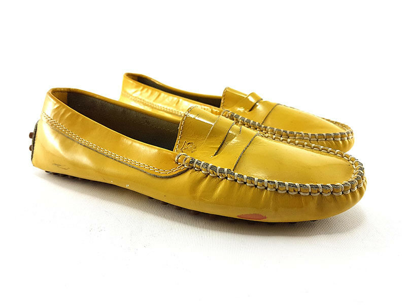 TOD's Yellow Patent Leather Driving Moccasins Loafer, Women's Shoe Size US 6