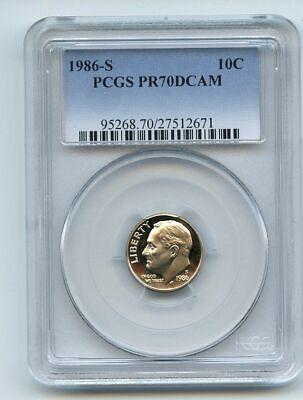1986-S Roosevelt Dime PCGS PF70DCAM