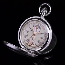 Double Hunter Silver Copper Moon Phase Tourbillon Hand Wind Pocket Watch Men