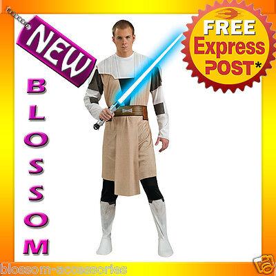 C688 Star Wars Animated Obi Wan Kenobi Mens Adult Halloween Fancy Dress Costume