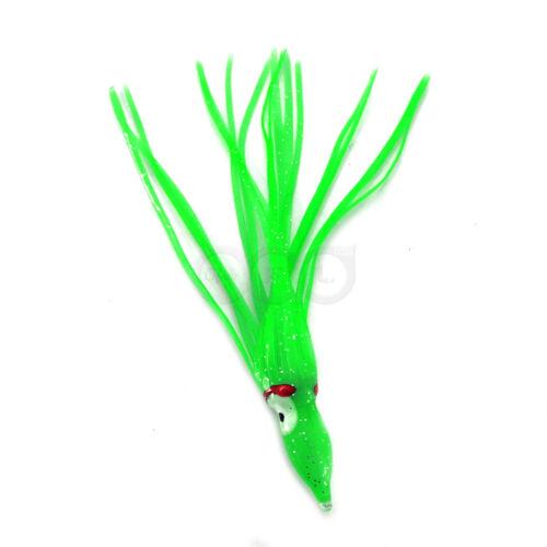 "50pcs 4.75/"" Green Squid Skirts Hoochies Rock Fish soft plastic Lures Bait NEW"