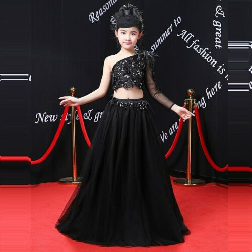 One-Shoulder Black Princess Wedding  Beading Girl Gown for Birthday Party Dress