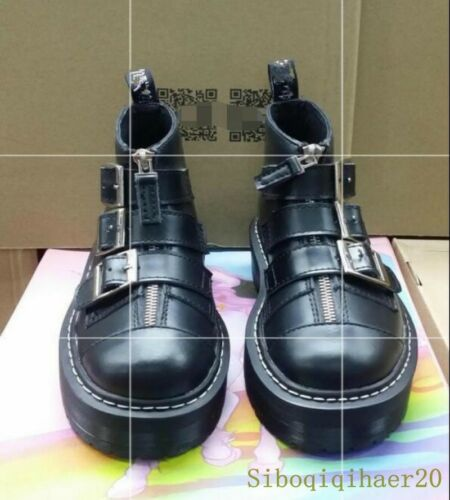 Womens Creeper Platform Buckle Shoes Strap Punk Ankle Boots Winter Fashion Chic^