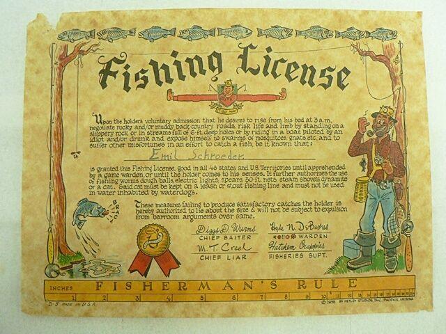VINTAGE 1955 fantasyc divertiuominitoNY pesca LICENSE