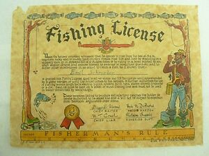 Vintage 1955 fantasy funny fishing license ebay for Dicks fishing license