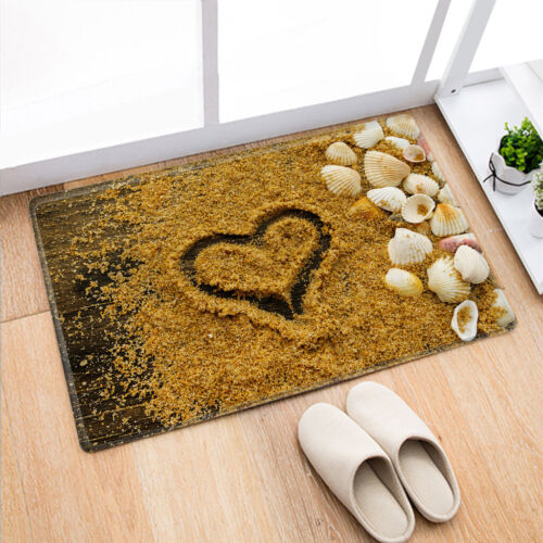 Beach /& Shell Print Non-slip Flannel Doormat Bath Mats Floor Entrance Mat Carpet