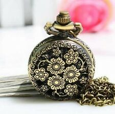 Antique Retro style Bronze Tone Quartz Watch Pendant Necklace chain with flowers