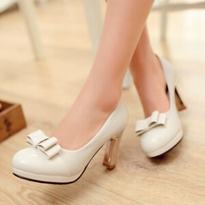 Womens-Med-Block-Heels-Round-Toe-Bow-Knot-Pumps-Fashion-Stilettos-Shoes-Big-Size