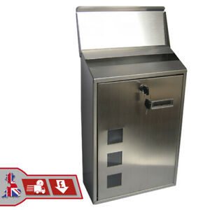 OUTDOOR WALL MOUNTED STAINLESS STEEL METAL MAILBOX LOCKABLE MAIL LETTER POST BOX