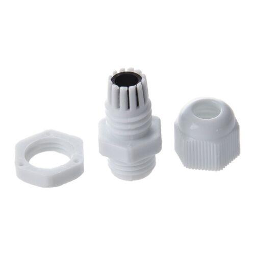 5X 4 Pcs 3-6.5mm cable PG7 plastique blanc impermeable presse-etoupe connecte U