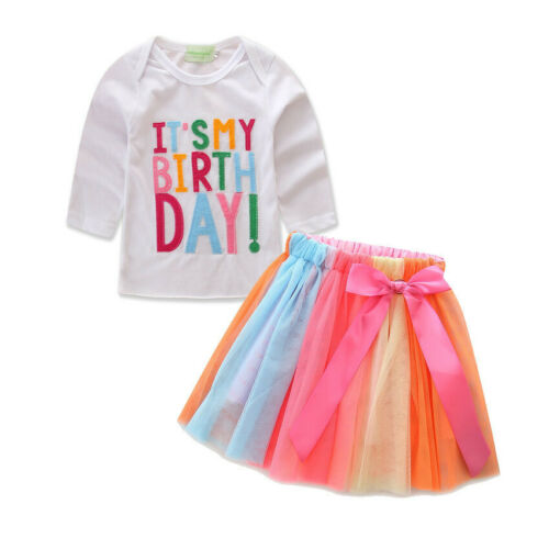 Girl Outfit Set It/'s My Birthday Top T-Shirt Tutu Skirt Party Dress Up Xmas Gift