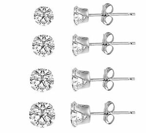 Set-of-4-Sterling-Silver-925-Round-Cubic-Zirconia-Stud-Earrings-pairs-CZ