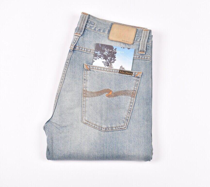 Nudie Gerade Geschnittene Jeans Alf Org. Abgenutzt Hell Hellblau Herren Größe