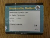 30/09/2000 Ticket: At Newcastle United: Manchester City v Newcastle United [Live