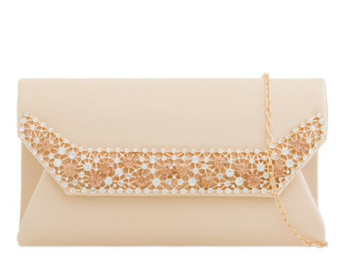 Ladies Satin Diamante Envelope Clutch Bag Evening Bag Party Handbag KTL2242