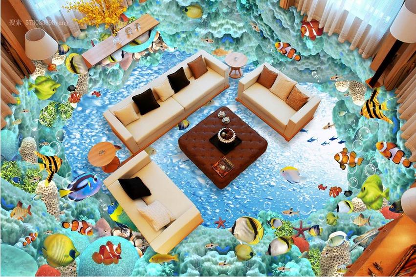 3D Seabed Clownfish 732 Floor WallPaper Murals Wall Print Decal AJ WALLPAPER US