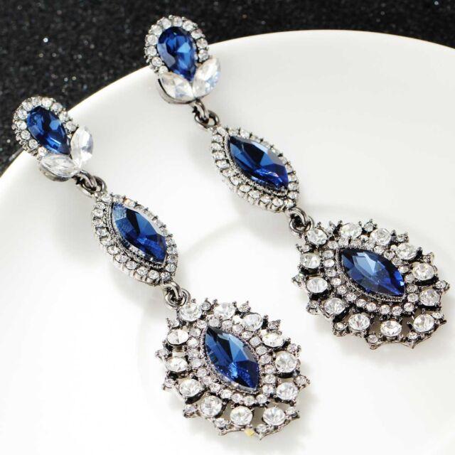 fashion show lady Elegant Crystal Rhinestone Ear Stud silver dangle Earrings 440
