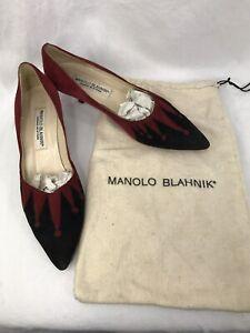 f7788e874dcdc Manolo Blahnik Red and Black Suede Heel Pump Size EU 38 US 7.5 | eBay