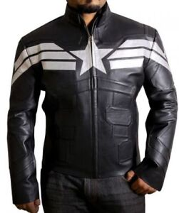 Men-039-s-Halloween-Marvel-Captain-America-Soldier-Stylish-Black-Faux-Leather-JackeT