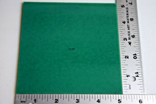 """0145.30 OPALESCENT JADE GREEN 5/"""" x 5/"""" SQUARE BULLSEYE 3mm THICK GLASS 90 COE"""