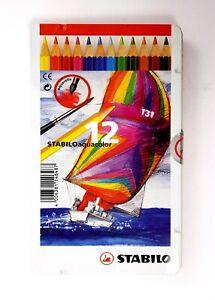 STABILO Crayons Aquacolor 12 Couleurs Aquarelle en Etui Métal 1612-5