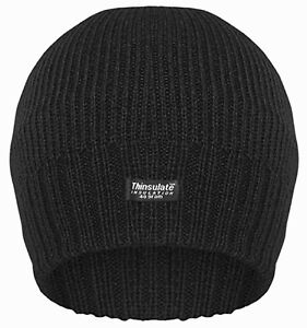 d3537c91eb8 Mens Black Thinsulate 3M Beanie Hat Insulated Warm Ladies Winter ...